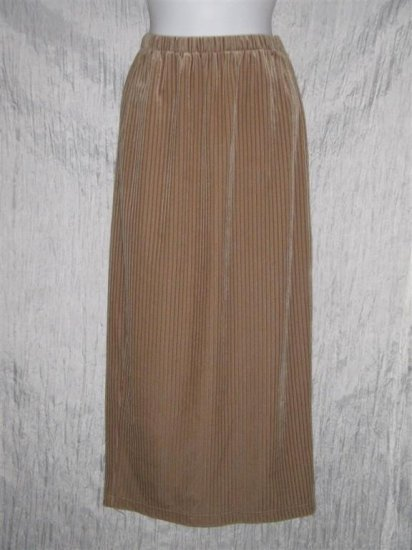 CRAZY LINE Long Tan Stripe Velour Knit Skirt Small S