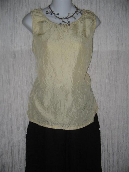 New JACKIE LOVES JOHN Butter Cream Silk Blouse Shell Shirt Top Large L
