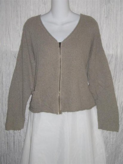 FLAX by Angelheart Jeanne Engelhart Mushroom Cropped Zipper Cardigan Sweater M L