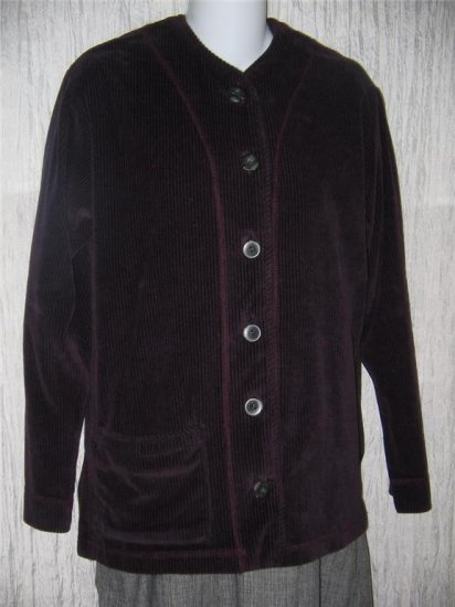 KINDRED SPIRIT Purple Corduroy Velour Jacket Top Small S
