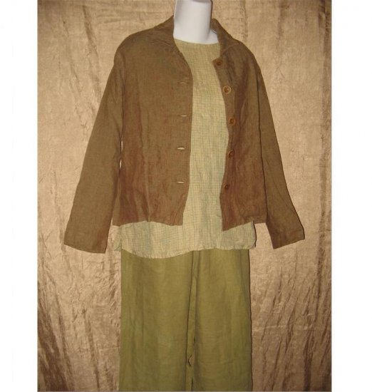 FLAX Rich Earthy Brown LINEN Boxy Button Jacket Shirt Top Jeanne Engelhart Petite P