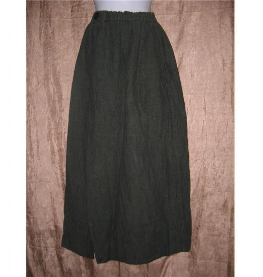 FLAX by Jeanne Engelhart Bark LINEN Asymmetrical Again Skirt Small S