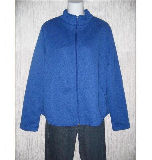 WEEKENDERS Soft Blue Swirl Knit Zipper Jacket L / G