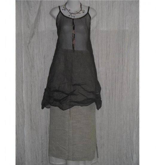 Jan Wilson Stufio Long Earthy Textured FLAX & RAYON Skirt Medium M