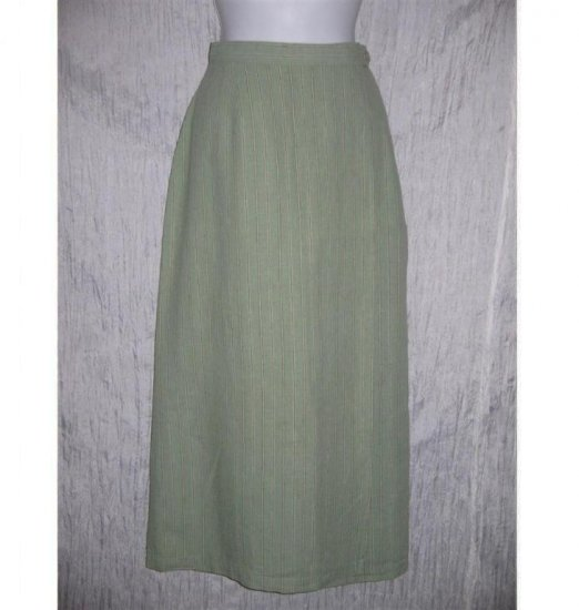 Ivy Long Striped Green Linen & Cotton Wrap Skirt 10 M L