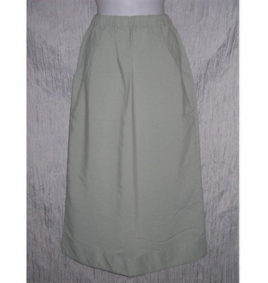 Jeanne Engelhart FLAX Long Green Textured Skirt Small S