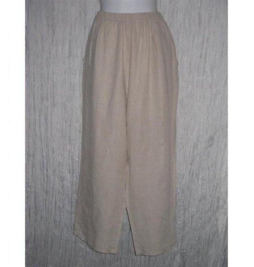 Jeanne Engelhart FLAX Long Natural Linen Pants Large L