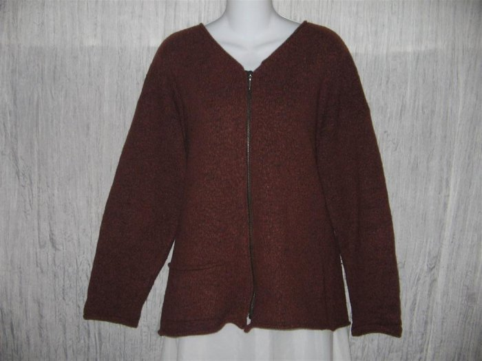FLAX by Angelheart Jeanne Engelhart Russet WOOL Zipper Cardigan Sweater S M