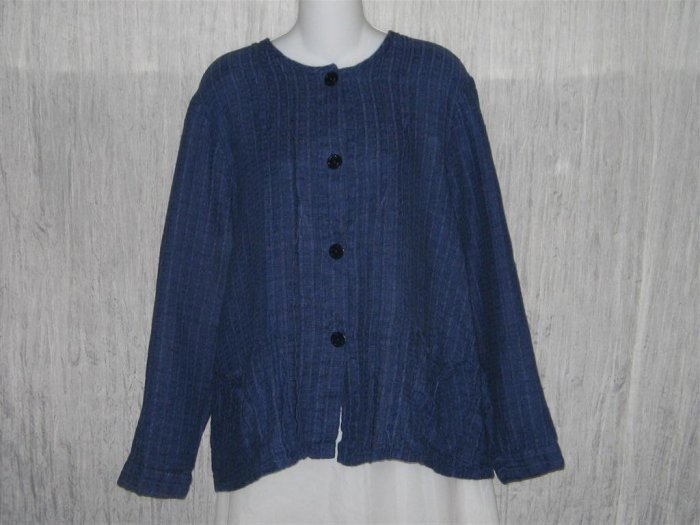FLAX Textured Blue Boxy Button Jacket Shirt Top Jeanne Engelhart Medium M