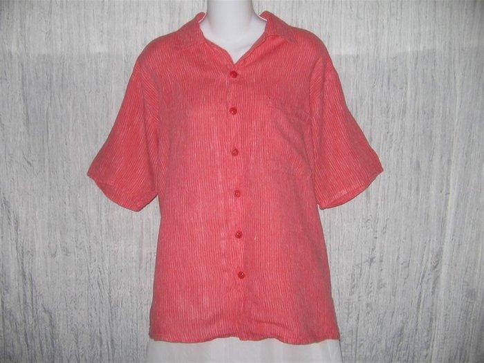 FLAX Red Stripe Linen Button Shirt Tunic Top Jeanne Engelhart Small S