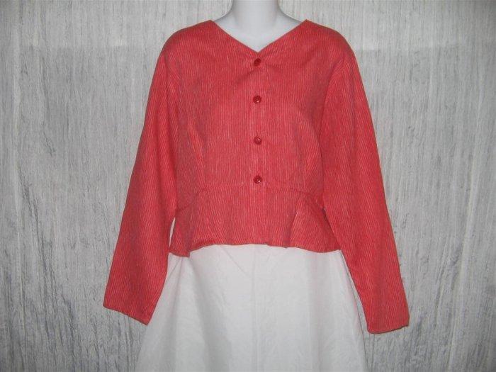 FLAX Shapely Red Stripe Peplum Jacket Shirt Top Jeanne Engelhart Small S