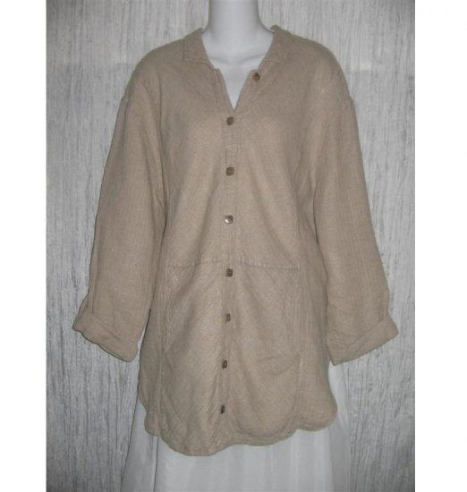 FLAX by Jeanne Engelhart Textured LINEN Jacket Shirt Top Small S