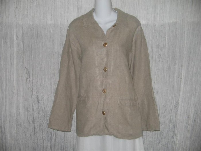Jeanne Engelhart FLAX Long Natural Linen Tunic Jacket Top Small S
