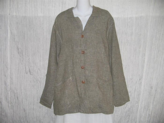 Jeanne Engelhart FLAX Long Gray Linen Tunic Jacket Top Medium