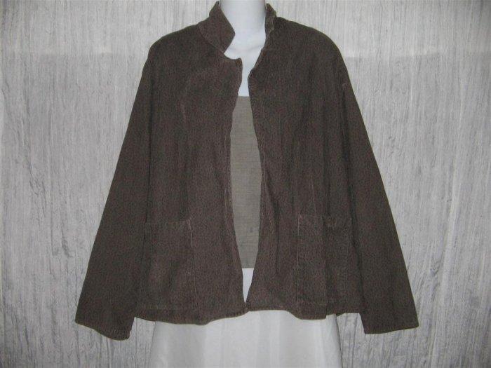 Jeanne Engelhart FLAX Long Brown Open Corduroy Tunic Jacket Small S