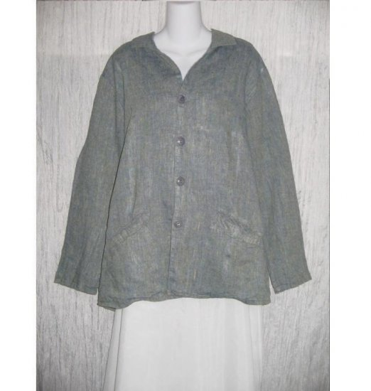 Jeanne Engelhart FLAX Long Blue Linen Tunic Jacket Top Medium