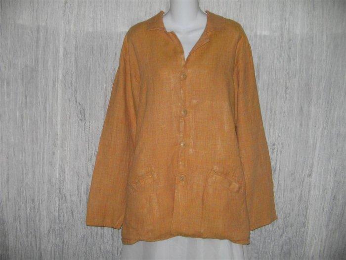 Jeanne Engelhart FLAX Long Orange Linen Tunic Jacket Top Medium