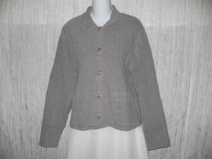 Jeanne Engelhart FLAX Gray Boxy Cotton Lycra Jacket Top Medium M
