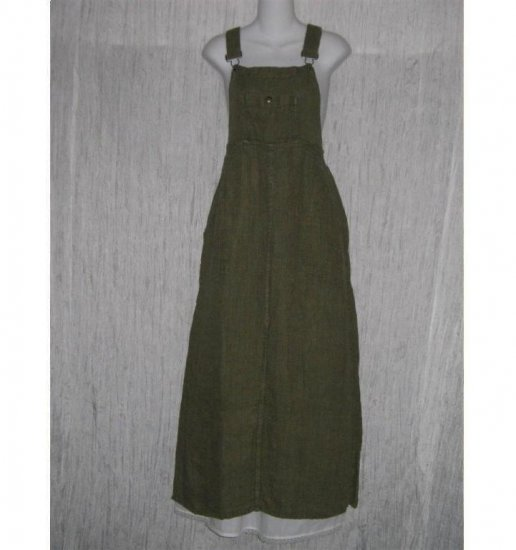 FLAX Adjustable Bark Cloth LINEN Jump Dress Jeanne Engelhart Small S