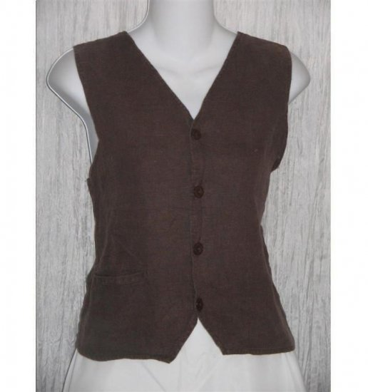FLAX by Jeanne Engelhart Brown LINEN Pocket Vest Small S
