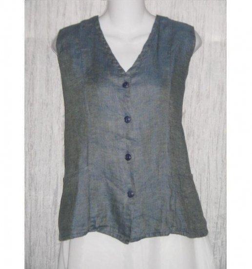 FLAX by Jeanne Engelhart Shapely Blue LINEN Vest Large L