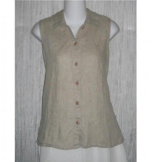 FLAX Shapely LINEN Button Shirt Tank Top Jeanne Engelhart Small S
