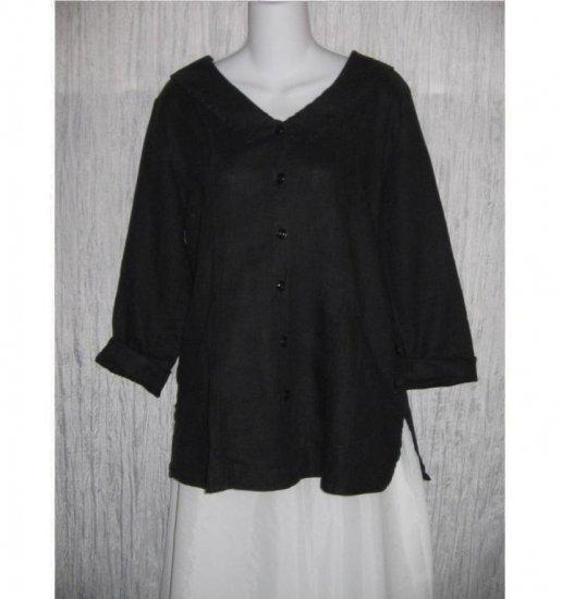 Jeanne Engelhart FLAX Black Linen Shapely Jacket Top Petite P