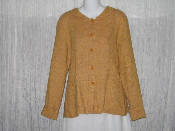 FLAX Pumpkin Linen Shapely Jacket Top Jeanne Engelhart Small S