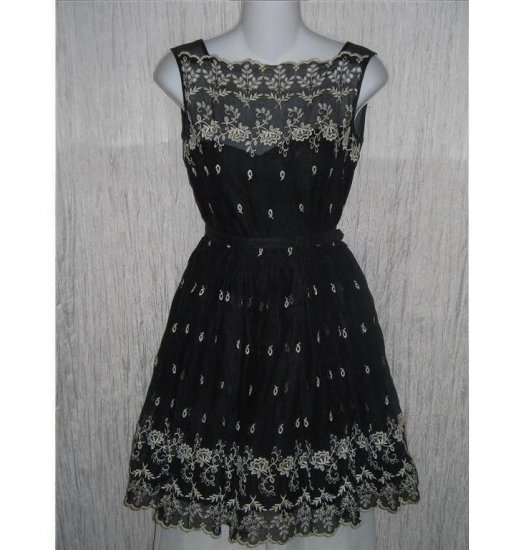 Vintage Black Embroidered Shapely Belted Dress 50's Small S