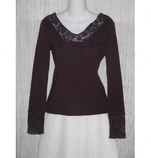 ANN TAYLOR Loft Purple Merino Wool Cashmere Knit Tunic Top Shirt Small S
