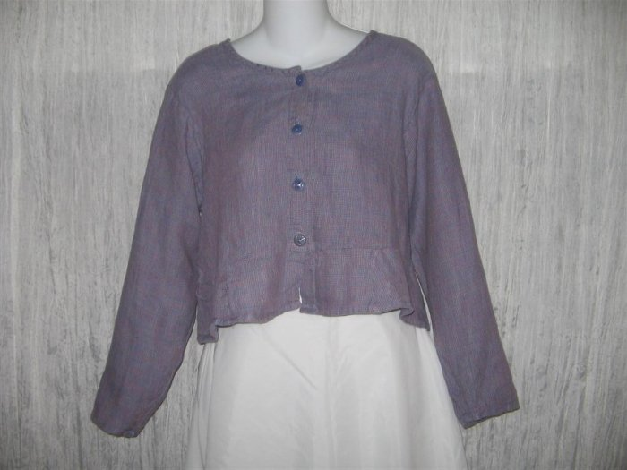 Jeanne Engelhart FLAX Shapely Purple Grid Peplum Jacket Shirt Top Petite P
