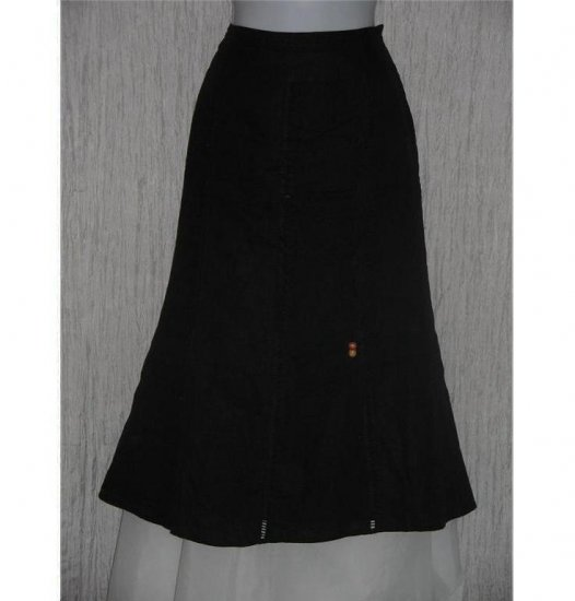 Richard Malcolm Black Linen Calf Length Drawstring Skirt Size 10