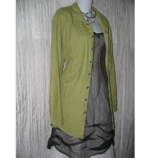 FLAX Green Corduroy Button Shirt Tunic Top Jeanne Engelhart Small S
