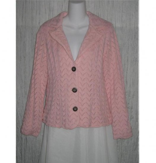 Liz Claiborne Warm Pink Lined Knit Cardigan Sweater Jacket Large L