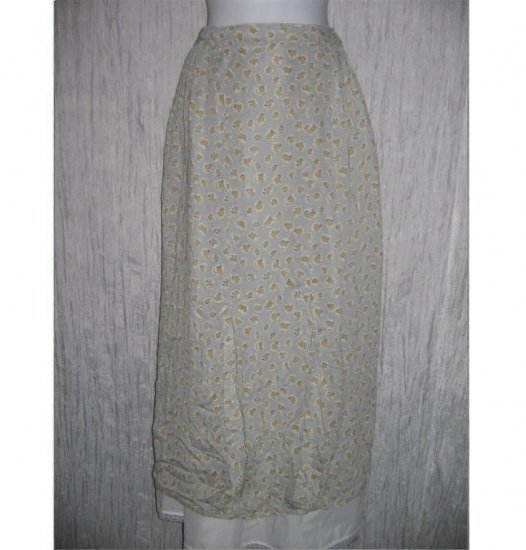 FLAX PATTERNED RAYON BUBBLE SKIRT JEANNE ENGELHART SMALL S