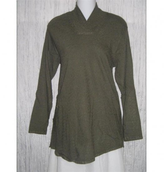 FLAX by Jeanne Engelhart Marsh Falling Leaves RAVEN SHIRT Tunic Top Small S