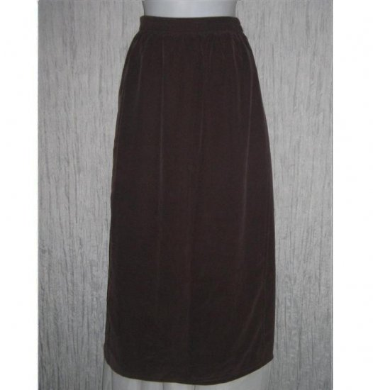 EILEEN FISHER NY Long Chocolate Brown Silk Wrap Skirt Size 1 Small Medium