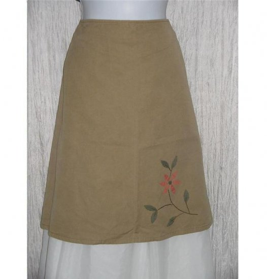HULIE Short Shapely Khaki Floral Knee Skirt Medium M