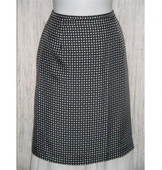 ANN TAYLOR Blue Cream Dots Short Shapely Silk Knee Skirt 10