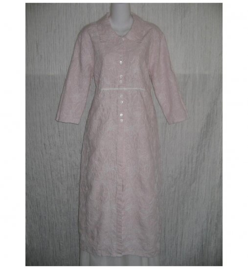 New FLAX Pink Embroidered LINEN Shapely Duster Jacket Jeanne Engelhart Small S