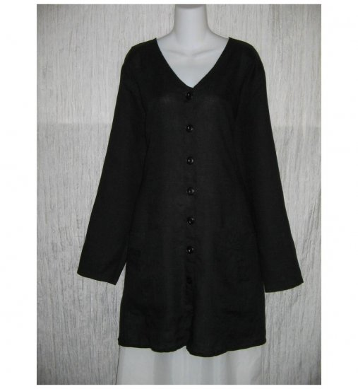 New FLAX Black LINEN Shapely Tunic Top Jacket Jeanne Engelhart 1G
