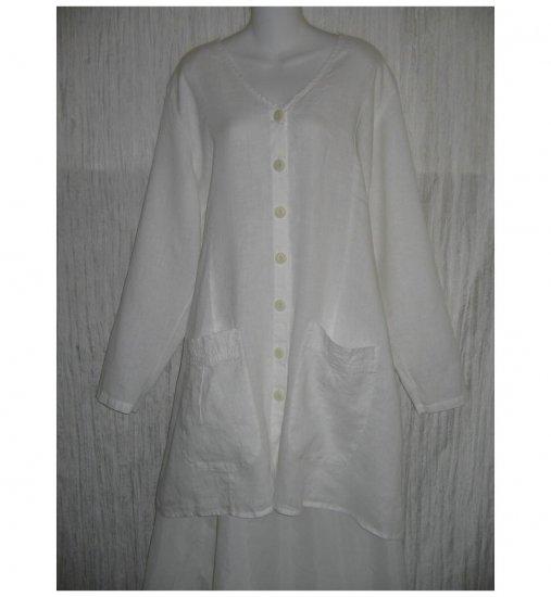 New FLAX White LINEN Shapely Tunic Top Jacket Jeanne Engelhart 1G