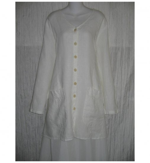 New FLAX White LINEN Shapely Tunic Top Jacket Jeanne Engelhart 1G