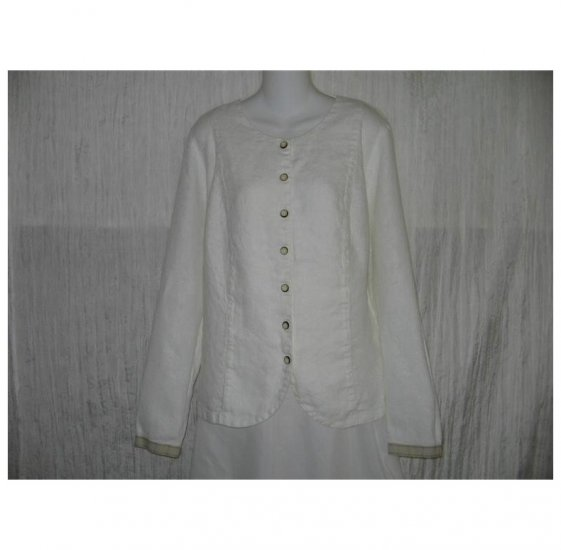 New FLAX White Textured LINEN Shapely Tunic Top Jacket Jeanne Engelhart Small