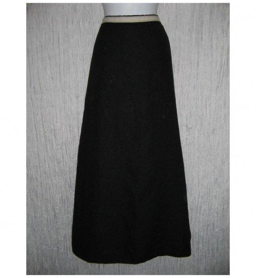 New FLAX Long Elegant Textured Black LINEN Faux Wrap Skirt Jeanne Engelhart G