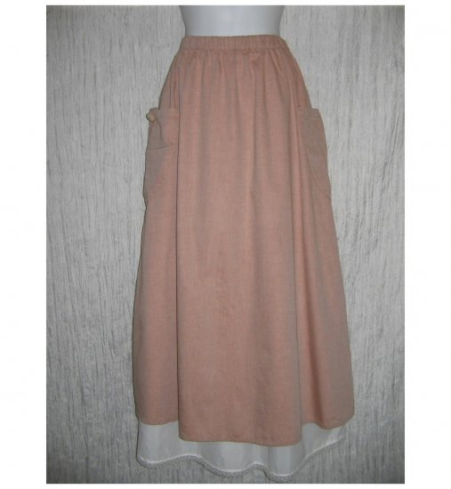 New FLAX Long & Full Soft Cotton Blush Pocket Skirt Jeanne Engelhart Small S