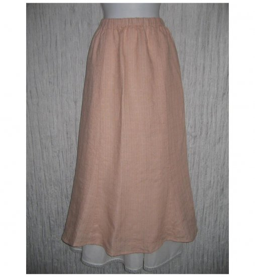New FLAX Long Pink Textured Linen Tied & True Skirt Jeanne Engelhart Small S