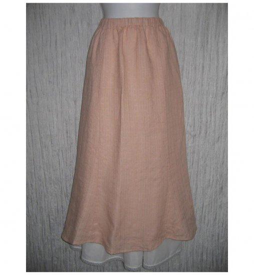 New FLAX Long Pink Textured Linen Tied & True Skirt Jeanne Engelhart Small S