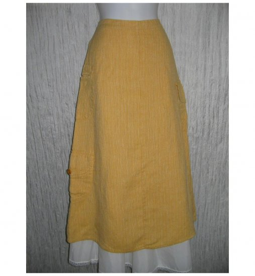 New FLAX Long Orange Striped LINEN Pocket Skirt Jeanne Engelhart Small S