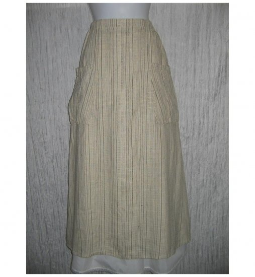 New FLAX Long & Full Earthy Textured LINEN Pocket Skirt Jeanne Engelhart Small S